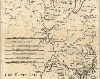 24x36 Poster; Map Of Western United States 1788 In French