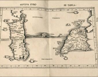 24x36 Poster; Ptolemy Map Sicily & Sardinia Italy 2Nd Century