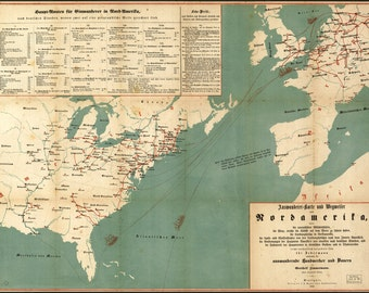 24x36 Poster; Immigration Map Of United States 1853 In German