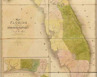 24x36 Poster; Map Of Florida 1839