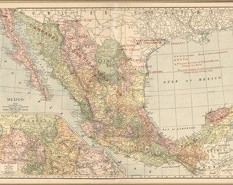 24x36 Poster; Map Of Mexico 1913
