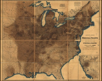 24x36 Poster; Map Of Pneumonia In United States Of America 1874