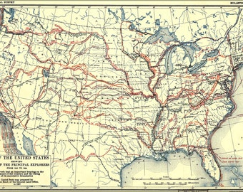 24x36 Poster; Map Of United States Of America Exploration From 1501 To 1844