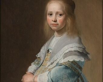 24x36 Poster; Girl In A Blue Dress - Johannes Cornelisz Verspronck