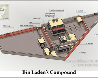 24x36 Poster; Osama Bin Laden Compound Hideout Compound