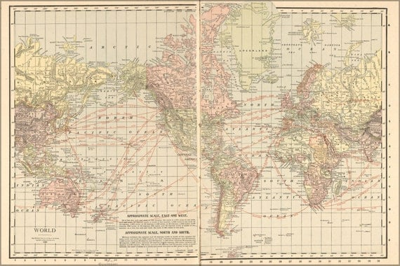 24x36 Poster Map Of The World 1913