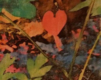 Colorful Floral Wall Art, Bleeding Heart Coral, Original Photo Transfer, Size 8.5 square