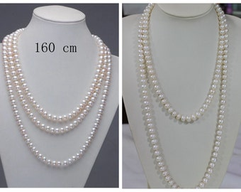 long pearl necklaces,60 inches ivory pearl necklaces, freshwater pearl necklaces,pearl jewelry,wedding necklace,girl friend gift
