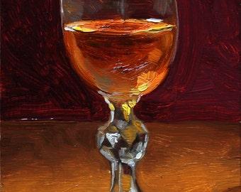 Whiskey Painting, original oil painting still life on board by Aleksey Vaynshteyn