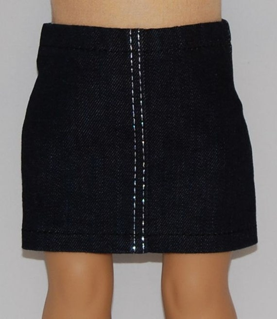 wash stretch denim mini skirt with silver by