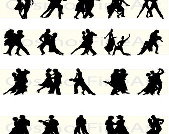 Tango silhouette digital clipart, 20 PNG, 20 JPG, Instant download,