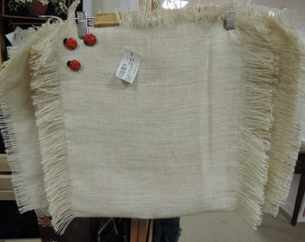 Burlap Tablerunner and Placemat Set. cream with ladybugs brown with leaves fall