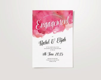 Watercolour Customised A5 Party Invite - Birthday, Engagement, Anniversary & Baptism.