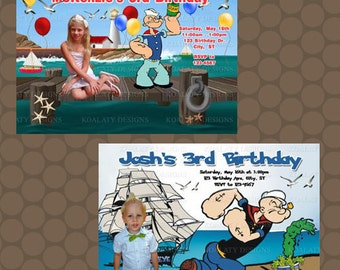 Boy or Girl Popeye Birthday Party Invitations Printable Uprint Digital Printed * 2 designs *