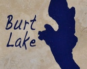 "Set of 4 ""Burt Lake"" Coasters. Free Shipping"