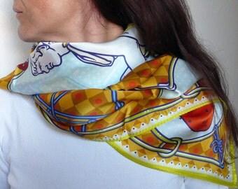 HERMES-silk scarves-silk scarf design Gianfranco Setzu-carré/handkerchief/sash/chador/hijab/shawl/headscarf