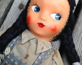 1950's Celluloid 18 Inch Doll- Painted Mask Face-Wire Jointed