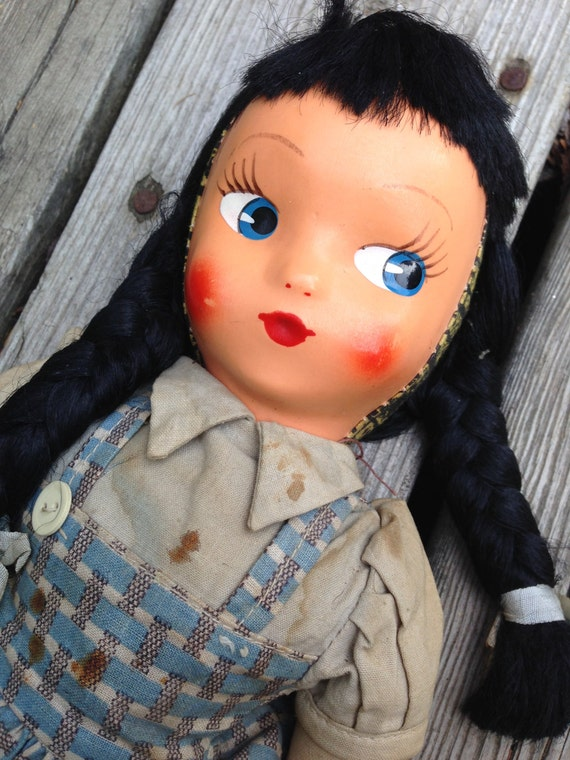1950 S Celluloid 18 Inch Doll Painted Mask Face Wire