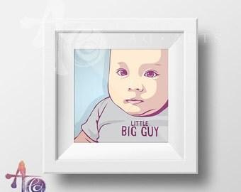 Custom BABY portrait - Printable - Personalized newborn gift - memento - poster