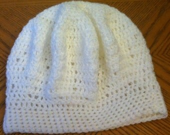 Crochet Hat White Adult Size
