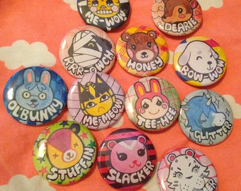 Animal Crossin NL Buttons set of 6