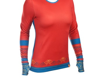 Long sleeve shirt Kayan - warm outdoor woman's blouse activewear ethnic tattoo printed