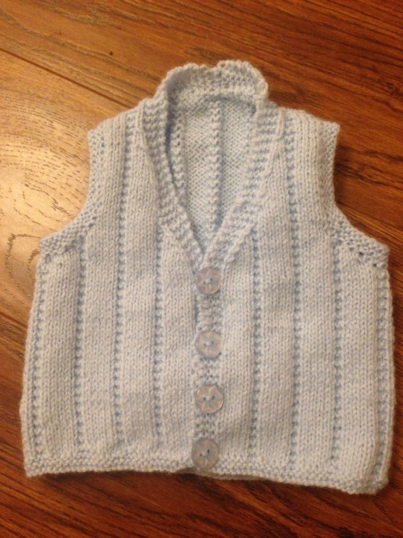 Knitting Patterns For Babies Waistcoats : A lovely hand knitted baby boys waistcoat made in baby soft