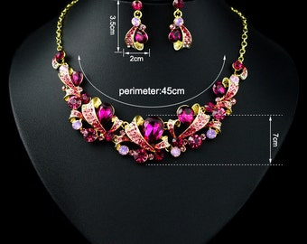 New Women 18k Gold Plated Swarovski Crystal Necklace & Earring Set 50039