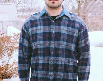 1970s Flannel Shirt with Denim Collar, M