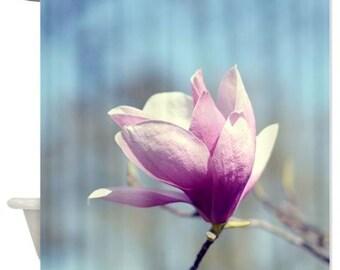 floral shower curtain magnolia shower curtain blue purple pink boho decor nature art shower curtain