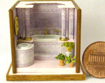 Lussuoso bagno, roombox scala 1/144, fatto a mano