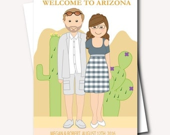 Desert Wedding Ideas- Unique Welcome Bag Label- Wedding Caricature- Destination Wedding Welcome Basket-  Printable Wedding Guest Welcome Bag