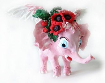Pink elephant,elephant figurine with flowers,pink elephant,sculpture,statuette