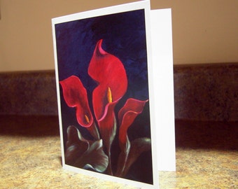Blank Greeting Card - Red Calla Lilies