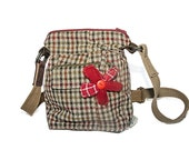 Tweedle Forgetmenot Bag - brown tweed handbag with zip top, adjustable strap, red cord lining, two pockets and a flower!