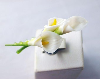 White mini calla lily ring, calla lily jewelry, flower ring