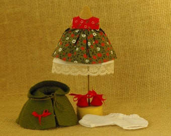 """Doll clothes Poppies, Waldorf doll clothes, doll outfit """"Poppies"""", Waldorf Doll 5-6 inch clothes, doll Clothes of 5 items"""