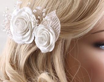 crystal hairpiece, pearl hair clip, flower hair clip, wedding hair clips, bridal hair accessories, flower hair clip-Set of 2