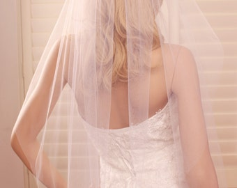 Single tier veil, wedding veil, fingertip length veil, tulle veil, bridal veil, single layer veil, long wedding veil