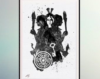 Goddess Hecate Hecate's wheel and symbols (Key, Torchs, Snake) Watercolor art  Watercolor Printing. Room Wall Decor Art. Wall Hanging.  A300