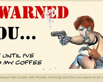 Monday Mornings - android, coffee, humor, illustration