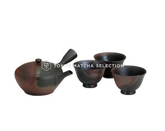 Premium - Tokoname Kyusu Set : GYOKKO - 1 Pot, 3 Cups