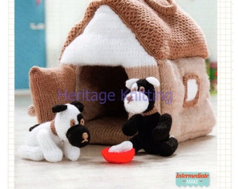 puppy and kennel toy dk knitting pattern 99p