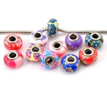 30PCS European Beads Polymer Clay Flower Pattern 15x9mm