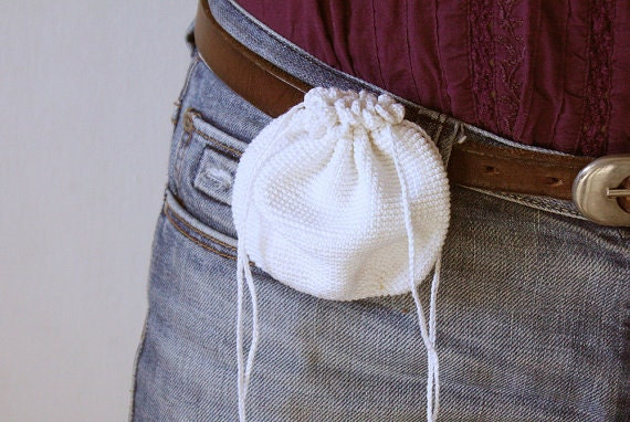 Belt Pouch Belt purse Crochet Drawstring Belt Bag Mini