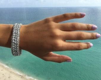 Silver color bracelet  soutache technique