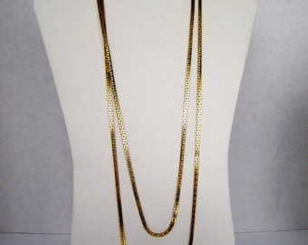 "Vintage Gold Tone Square Links Chain Necklace 56"" from the 1950's"