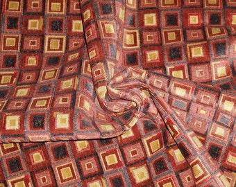 COWTAN & TOUT KALEIDOSCOPE Geometric Linen Cut Velvet Fabric Remnant Cinnabar Slate Gold