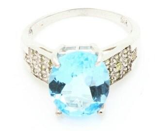 Topaz & Peridot Ring. 925 Silver. Size 7. TMPL_SKU002506