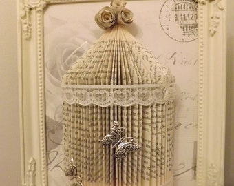 shabby chic bird cage Origami book folding art.